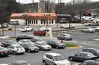 Mall shopping center parking lot in Greenbelt, Marylandj