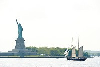Statue of Liberty and old sailing ship, New York, USA
