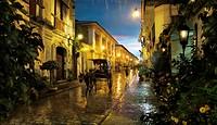 Rainy night in Vigan, a spanish colonial city in Ilocos, Vigan, Luzon Island, Philippines, Asia