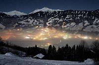 View over Fuegen at night, Zillertal, Tyrol, Austria