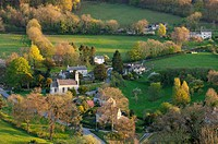 England, Gloucestershire, Sheepscombe. View overlooking the Cotswold village of Sheepscombe.