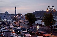 Traffic jam at dusk at the harbour promenade, Muscat, Masqat, Oman, Arabian Peninsula