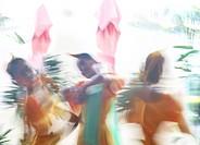 Three dancers, Ati Atihan festival, Kalibo, Aklan, Panay Island, Visayas, Philippines