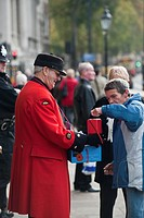 England, London, Whitehall. A Chelsea Pensioner raising money for the Royal British Legion by selling poppies.
