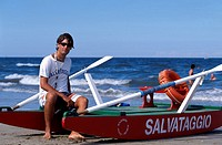 Lifeguard and rowing boat on the beach, Rimini, Adriatic Coast, Italy, Europe