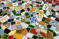 Trencadis tile on the floor of artisan´s Trade Fair, Pilar de la Mola in Formentera, Balearic Islands, Spain, Europe