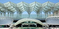 Oriente Station, Garo do Oriente, designed by Spanish architect Santiago Calatrava, on the grounds of the Parque das Nacoes, site of World Expo 98 in ...