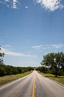 Rural Road Through Green Landscape, Texas, USA