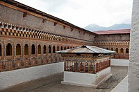 Tibetan Buddhism, ornate wood carvings, courtyard, Tango Goemba Monastery near Thimphu, the Himalayas, Kingdom of Bhutan, South Asia, Asia