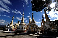 Pagodas of a monastery complex in Nyaungshwe on Inle Lake in Myanmar, Burma, Southeast Asia, Asia