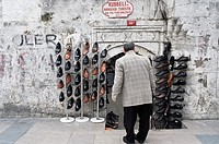 Man looking at shoes store in the street of istanbul, Turkey