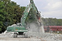 Demolition, tear off, pull down, Baden, excavator, construction, build, dismantling, Germany, tear, Europe, building, construction, house, home, Ulm, ...