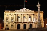 The Pelourinho Column outside of the Neo_Classical style Town Hall Camara Municipal de Lisboa in central Lisbon, Portugal, Europe