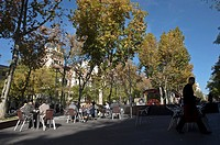 Terrace in Santa B&#225;rbara square in Madrid, Spain