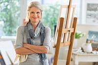 Portrait of senior woman in art studio