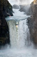 Kayak jumping at Celestial falls, Oregon
