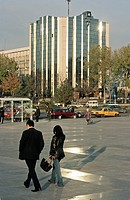 Modern building in the business district of Tashkent, Uzbekistan, Central Asia