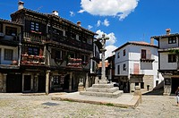 Europe, Spain, Castile and Leon, Castilla y Leon, Sierra de Francia, Plaza Mayor in the oldtown of La Alberca