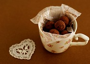 Chocolate truffles in a mug