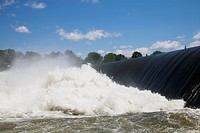 Water Flowing Over A Ledge And Crashing Into The Richelieu River, Chambly Quebec Canada