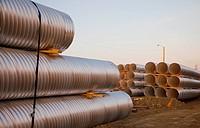 culvert pipe used in road construction, edmonton, alberta, canada