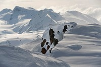 snow on the coast mountains, whistler, british columbia, canada
