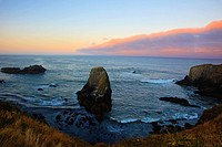 sunrise over yaquina head, oregon united states of america