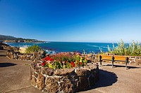 flowers and benches along the coast, depoe bay oregon united states of america