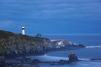 morning light over yaquina head lighthouse, newport oregon united states of america