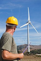 technician at a windfarm near tarifa, cadiz andalusia spain