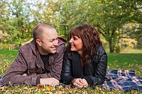 young newlywed couple in a park together, edmonton alberta canada