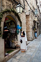 Clothing shop in a narrow street, Old Town, Dubrovnik  Croatia