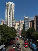 CAUSEWAY BAY HONG KONG Causeway Bay road busy traffic jam tower block skyscrapers