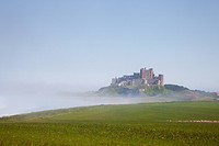 Bamburgh Castle On A Hill In The Fog, Northumberland England
