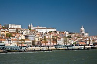 buildings along the tagras river, lisbon, portugal