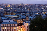 skyline of paris from montmartre, paris france