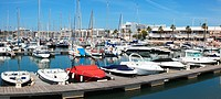 boats in a harbour, lagos algarve portugal
