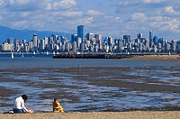 Canada, British Columbia, Vancouver, skyline and English Bay view from Jericho beach