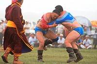 Mongolia, Ulan Bator, Nadaam Day, national folk festival in honor of Genghis Khan, wrestling, the wrestlers wear the panties shuudag and bolero zodog ...