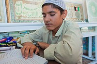 Afghanistan, Balkh province, Mazar_i_Sharif, Hazrat Ali, young student in Quran school