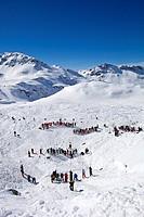 France, Savoie, Massif de La Vanoise, La Tarentaise Valley, 3 Vallees ski area, Meribel, sounding on an avalanche on Lac du Borgne