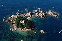 France, Cotes d´Armor, Cote de Granit Rose Pink Granit Coast, Tregastel, Ile de Costaeres and castle aerial view