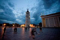 Lithuania Baltic States, Vilnius, historical centre listed as World Heritage by UNESCO, the clock tower and Vilnius cathedral
