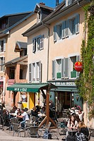 France, Savoie, Chambery, Republique street, cafe terrace