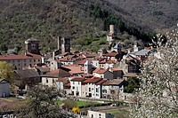 France, Haute Loire, Blesle, labelled Les Plus Beaux Villages de France The most beautiful villages of France, Tour de Massadou and bell tower of St P...