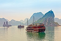 Boats and Karsts, Halong Bay, Hanoi, Vietnam
