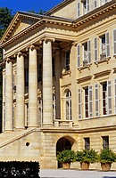France, Gironde, Bordeaux Wine Region, Chateau Margaux, neoclassical facade and ionic colonnade
