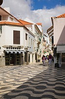 Commercial shopping concourse with mosaic tiles, Cascais, Portugal, Europe