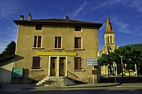 France, Drome, Saint Laurent en Royans, the post office and the church