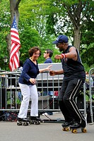 United States, New York, Manhattan, Central Park, dance skaters